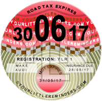 Nostalgic Pink Car Road Tax Disc Reminder PYLR002