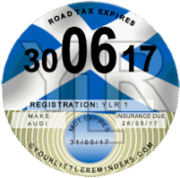 Scottish Saltire Car Vehicle Road Tax Disc Reminder PYLR005