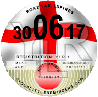 English Car Vehicle Road Tax Disc Reminder PYLR007