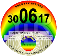 Rainbow Car Vehicle Road Tax Disc Reminder PYLR009