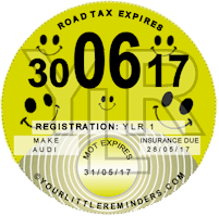 Smiley Car Road Tax Disc Reminder PYLR011