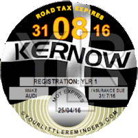 Cornish Kernow Flag Car Vehicle Road Tax Disc Reminder PYLR016