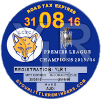 Leciester City Premier League Champions Car Vehicle Road Tax Disc Reminder PYLR017