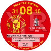 Manchester United FA Cup Winners Car Vehicle Road Tax Disc Reminder PYLR018