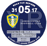 Leeds United Car Vehicle Road Tax Disc Reminder PYLR019