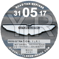 Aston Martin Car Vehicle Road Tax Disc Reminder PYLR020