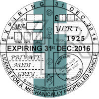 Retro 1925 Car Road Tax Disc Reminder PYLR025
