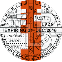 Retro 1926 Car Road Tax Disc Reminder PYLR026