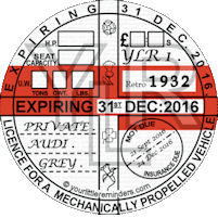 Retro 1932 Car Road Tax Disc Reminder PYLR032