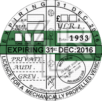 Retro 1933 Car Road Tax Disc Reminder PYLR033