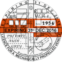 Retro 1934 Car Road Tax Disc Reminder PYLR034