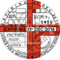 Retro 1935 Car Road Tax Disc Reminder PYLR035