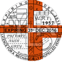 Retro 1937 Car Road Tax Disc Reminder PYLR037