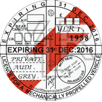 Retro 1938 Car Road Tax Disc Reminder PYLR038