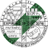 Retro 1939 Car Road Tax Disc Reminder PYLR039