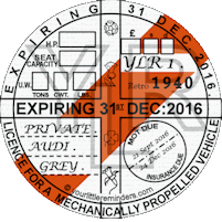 Retro 1940 Car Road Tax Disc Reminder PYLR040