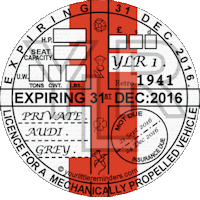 Retro 1941 Car Road Tax Disc Reminder PYLR041