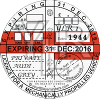 Retro 1944 Car Road Tax Disc Reminder PYLR044