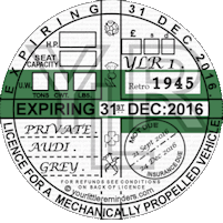 Retro 1945 Car Road Tax Disc Reminder PYLR045