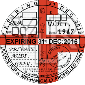 Retro 1947 Car Road Tax Disc Reminder PYLR047