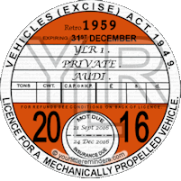 Retro 1959 Car Road Tax Disc Reminder PYLR059