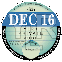 Retro 1961 Car Road Tax Disc Reminder PYLR061
