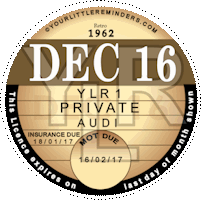 Retro 1962 Car Road Tax Disc Reminder PYLR062