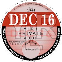 Retro 1964 Car Road Tax Disc Reminder PYLR064