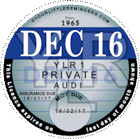 Retro 1965 Car Road Tax Disc Reminder PYLR065