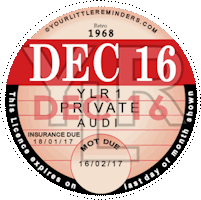 Retro 1968 Car Road Tax Disc Reminder PYLR068