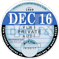 Retro 1969 Car Road Tax Disc Reminder PYLR069