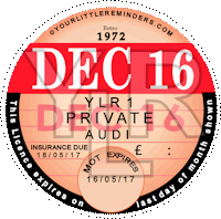 Retro 1972 Car Road Tax Disc Reminder PYLR072