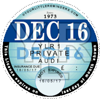 Retro 1973 Car Road Tax Disc Reminder PYLR073