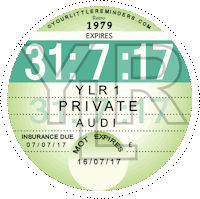 Retro 1979 Car Road Tax Disc Reminder PYLR079