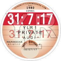 Retro 1980 Car Road Tax Disc Reminder PYLR080
