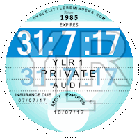Retro 1985 Car Road Tax Disc Reminder PYLR085