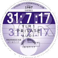 Retro 1987 Car Road Tax Disc Reminder PYLR087