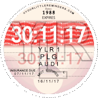 Retro 1988 Car Road Tax Disc Reminder PYLR088