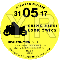Think Bike Car Vehicle Road Tax Disc Reminder PYLR151