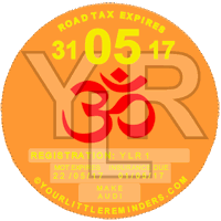 Hindu Alum Car Vehicle Road Tax Disc Reminder PYLR152