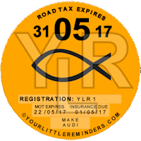 Christain Fish Car Vehicle Road Tax Disc Reminder PYLR153