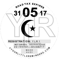 Muslim Crescent and Star Car Vehicle Road Tax Disc Reminder PYLR154