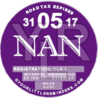 Nan Car Vehicle Road Tax Disc Reminder PYLR160