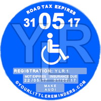 Disabled Car Vehicle Road Tax Disc Reminder PYLR163