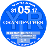 Grandfather Car Vehicle Road Tax Disc Reminder PYLR165