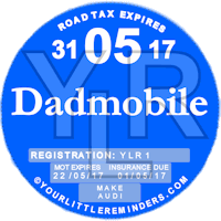Dadmobile Car Vehicle Road Tax Disc Reminder PYLR167
