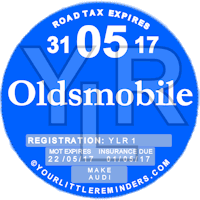 Blue Oldsmobile Car Vehicle Road Tax Disc Reminder PYLR168