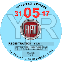 Fiat Car Vehicle Road Tax Disc Reminder PYLR170
