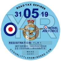 Royal Air Force Car Vehicle Road Tax Disc Reminder PYLR174