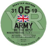 British Army Car Vehicle Road Tax Disc Reminder PYLR175